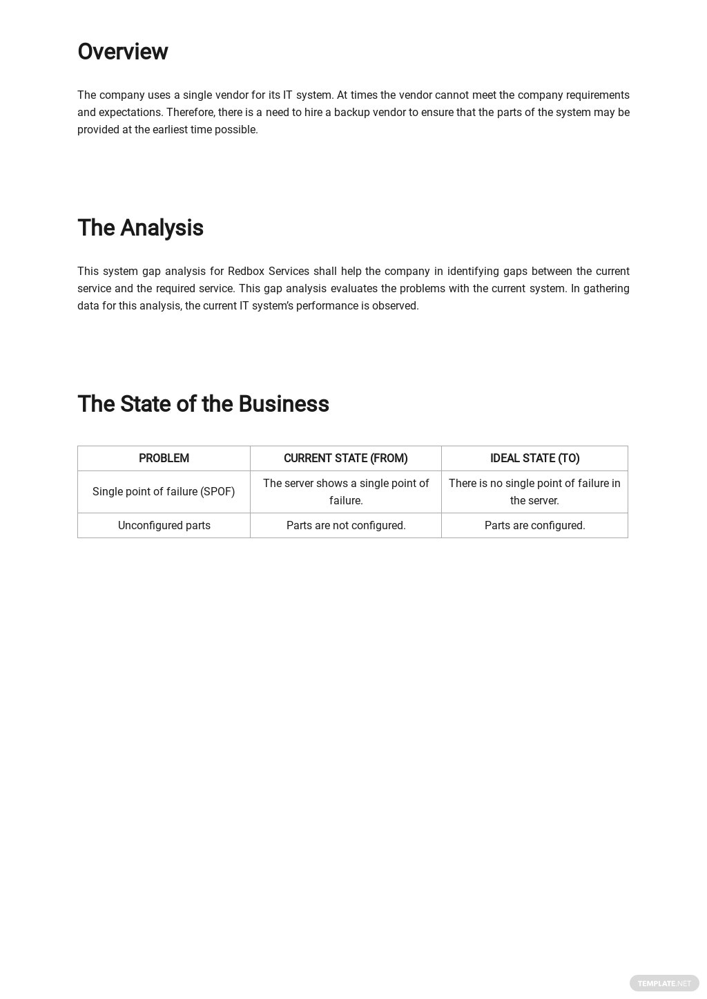 System Gap Analysis Template [Free PDF] - Google Docs, Word, Apple Pages