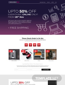 Free Cyber Monday Landing Page Template