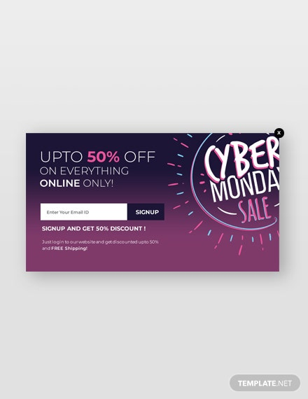 Free Cyber Monday Website Popup Template