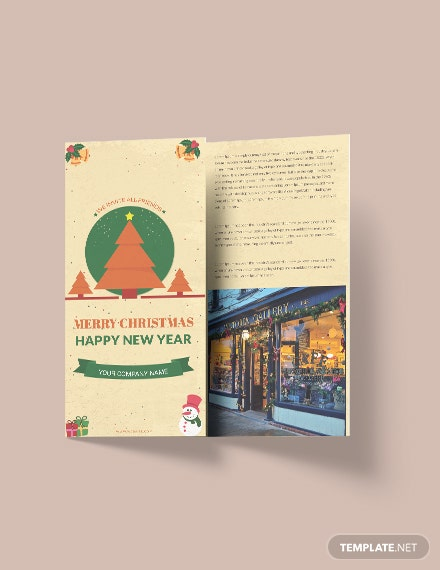 Free Vintage Christmas Tri-Fold Brochure Template