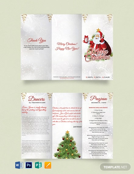 Free Simple Christmas Tri-Fold Brochure Template