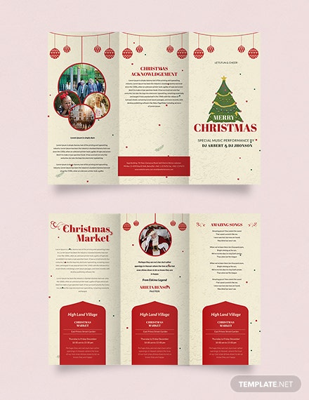 Free Retro Christmas Tri-Fold Brochure Template