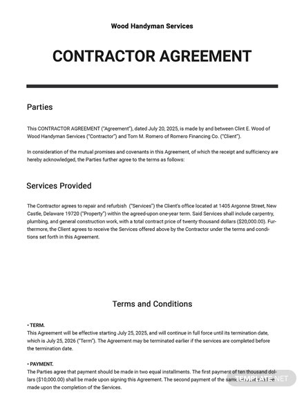 Editable Contractor Agreement Template