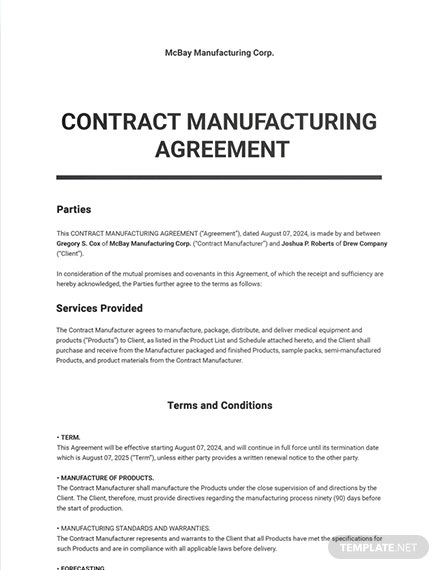Contract Manufacturing Agreement Sample