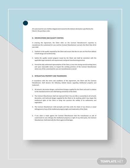 Contract Manufacturing Agreement Template Word Google