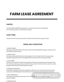 Farm Lease Agreement Template