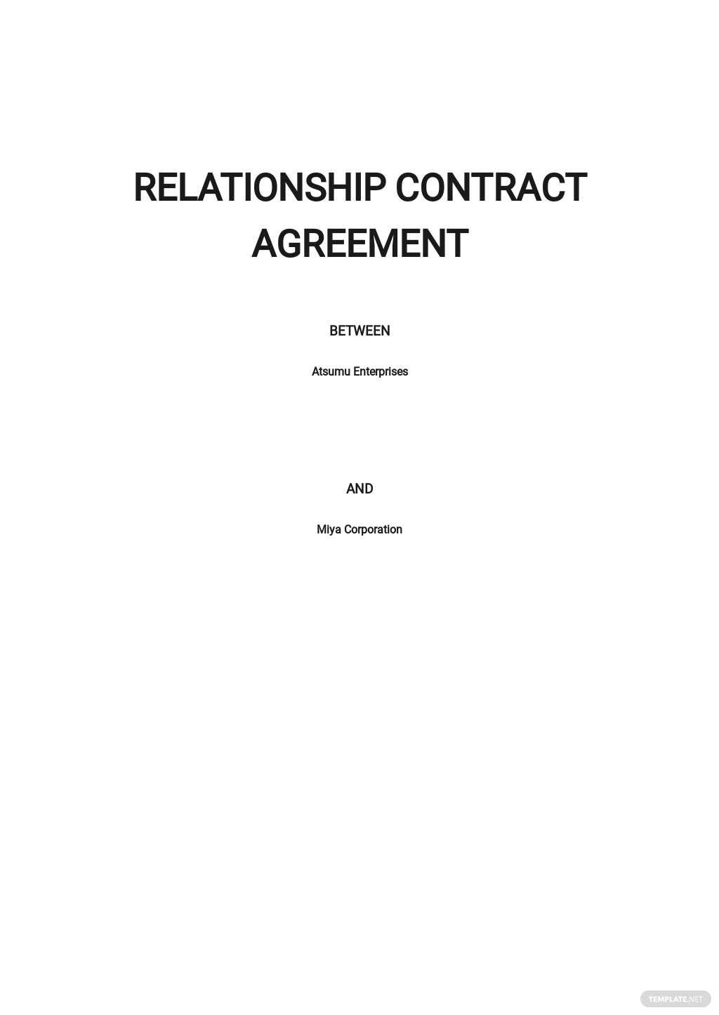 Relationship Contract Agreement Template .jpe