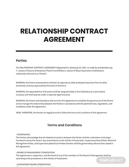 Relationship Contract Agreement Template