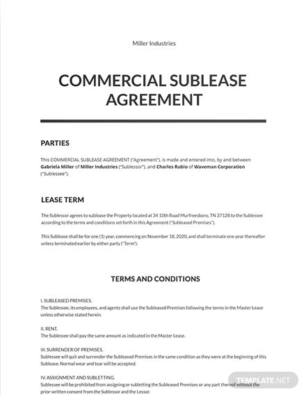 Commercial Sublease Agreement Template