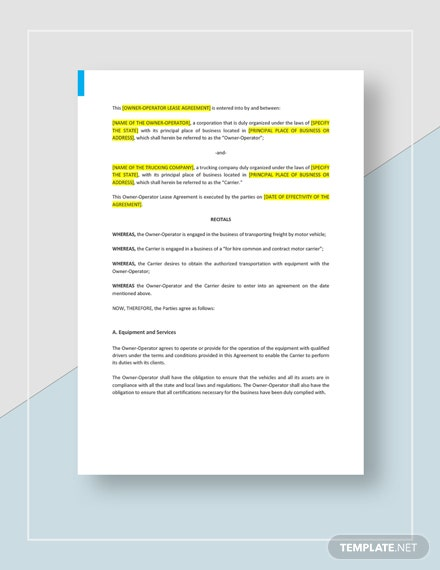 Owner Operator Lease Agreement Template Word Google Docs