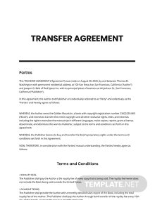 Transfer Agreement Template