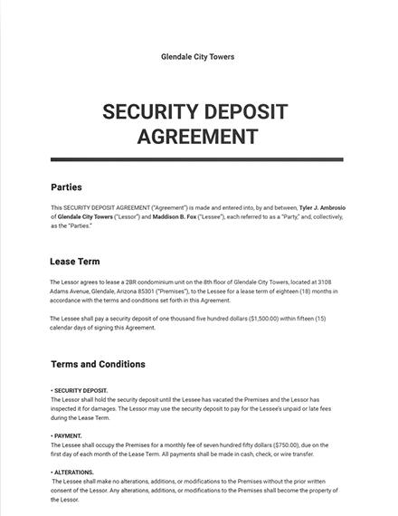 Security Deposit Agreement Template