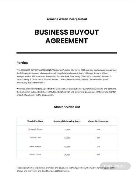Business Buyout Agreement Template