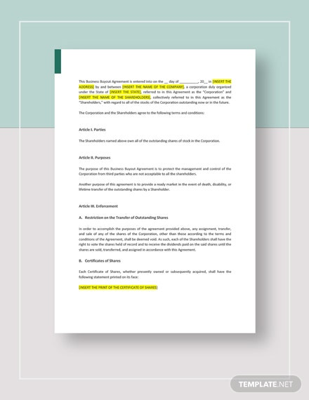Business Buyout Agreement Template Word Google Docs