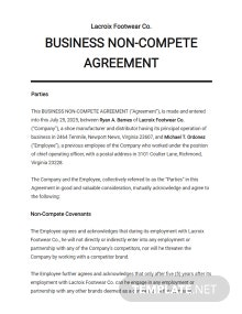Business Non-Compete Agreement Template