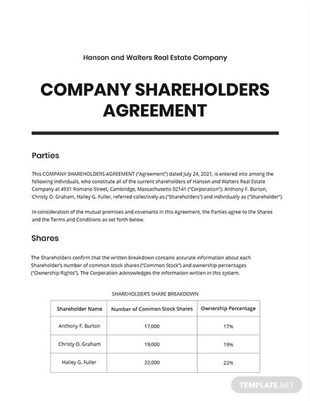 Company Shareholders Agreement Template