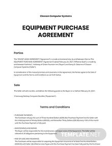 Equipment Purchase Agreement Template