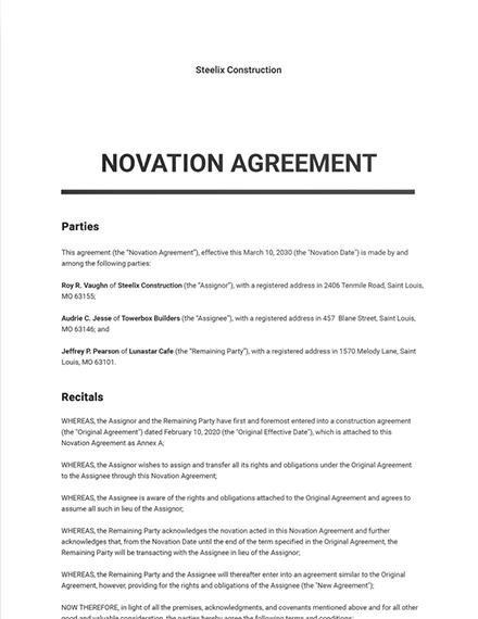 Novation Agreement Template