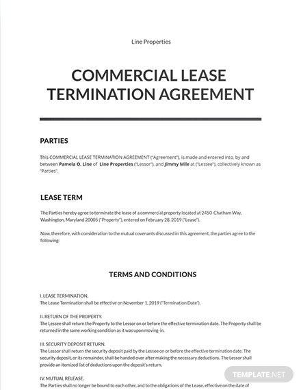 Commercial Lease Termination Agreement Template