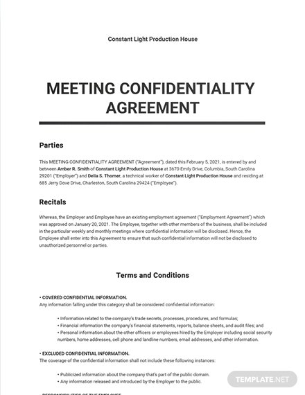 Meeting Confidentiality Agreement Sample