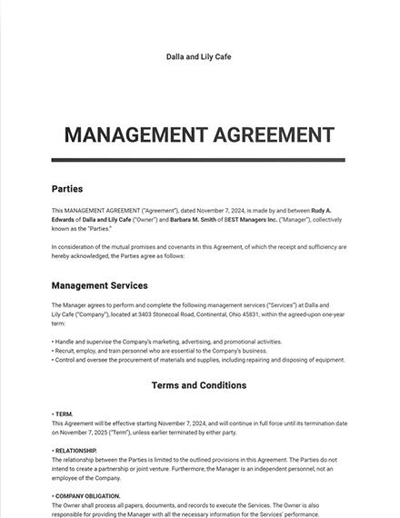 Management Agreement Template