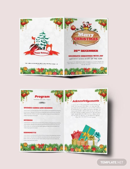 Free Christmas Bi-Fold Brochure Template