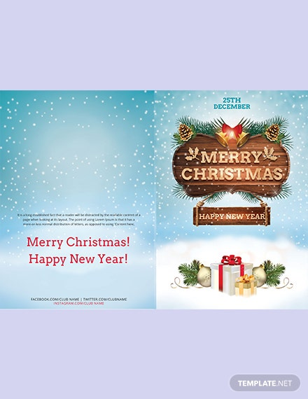Christmas and New Year biFold Brochure Template