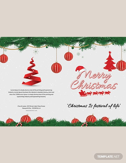Merry Christmas BiFold Brochure Template