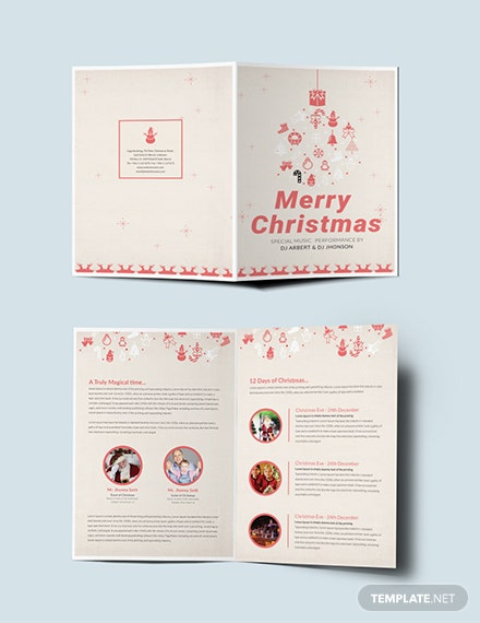 free elegant christmas bi fold brochure template download 151