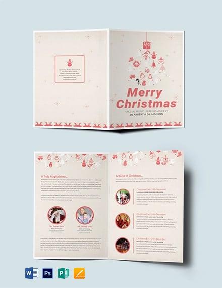 Free Elegant Christmas Bi-Fold Brochure Template