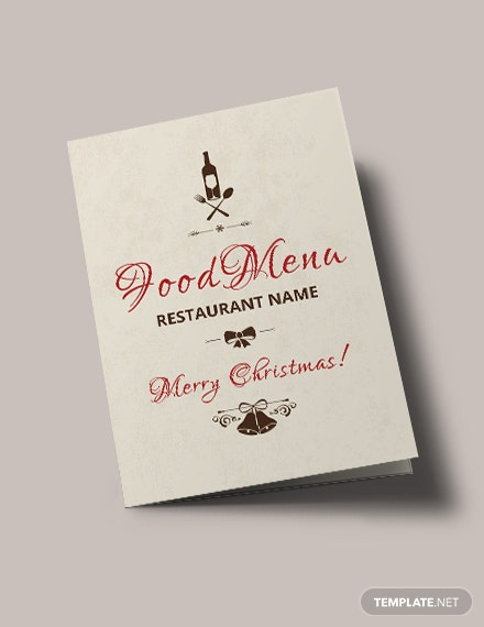Free Christmas Bi-Fold Menu Brochure Template