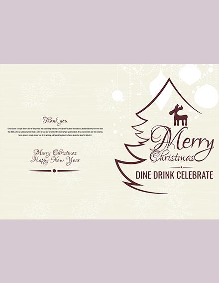 Christmas Restaurant Bifold Brochure Template