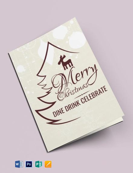 Free Christmas Restaurant Bi-fold Brochure Template