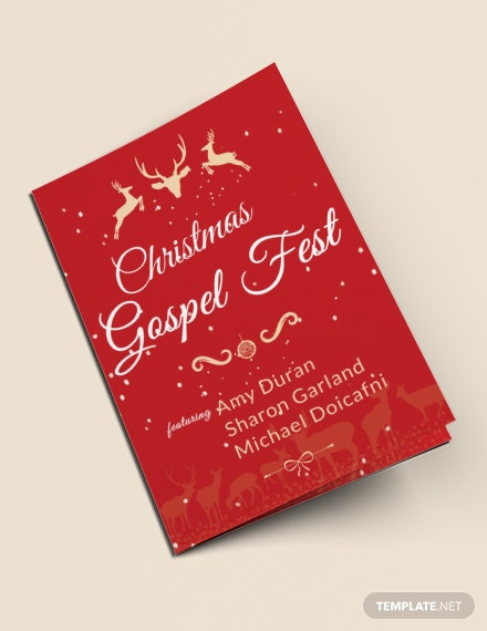 Christmas Fest Bi-Fold Brochure Template [Free Publisher] - Word, Apple Pages, PSD