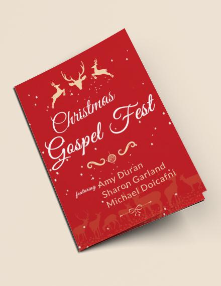Free Christmas Fest Bi-Fold Brochure Template