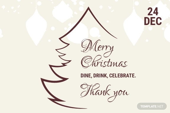 Free Restaurant Christmas Thank You Card Template