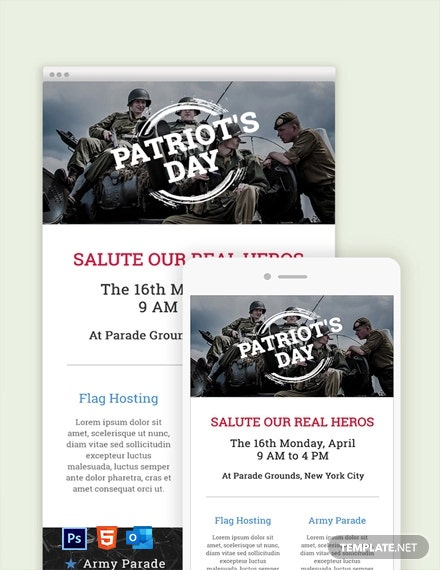 Free Patriot's Day Email Newsletter Template