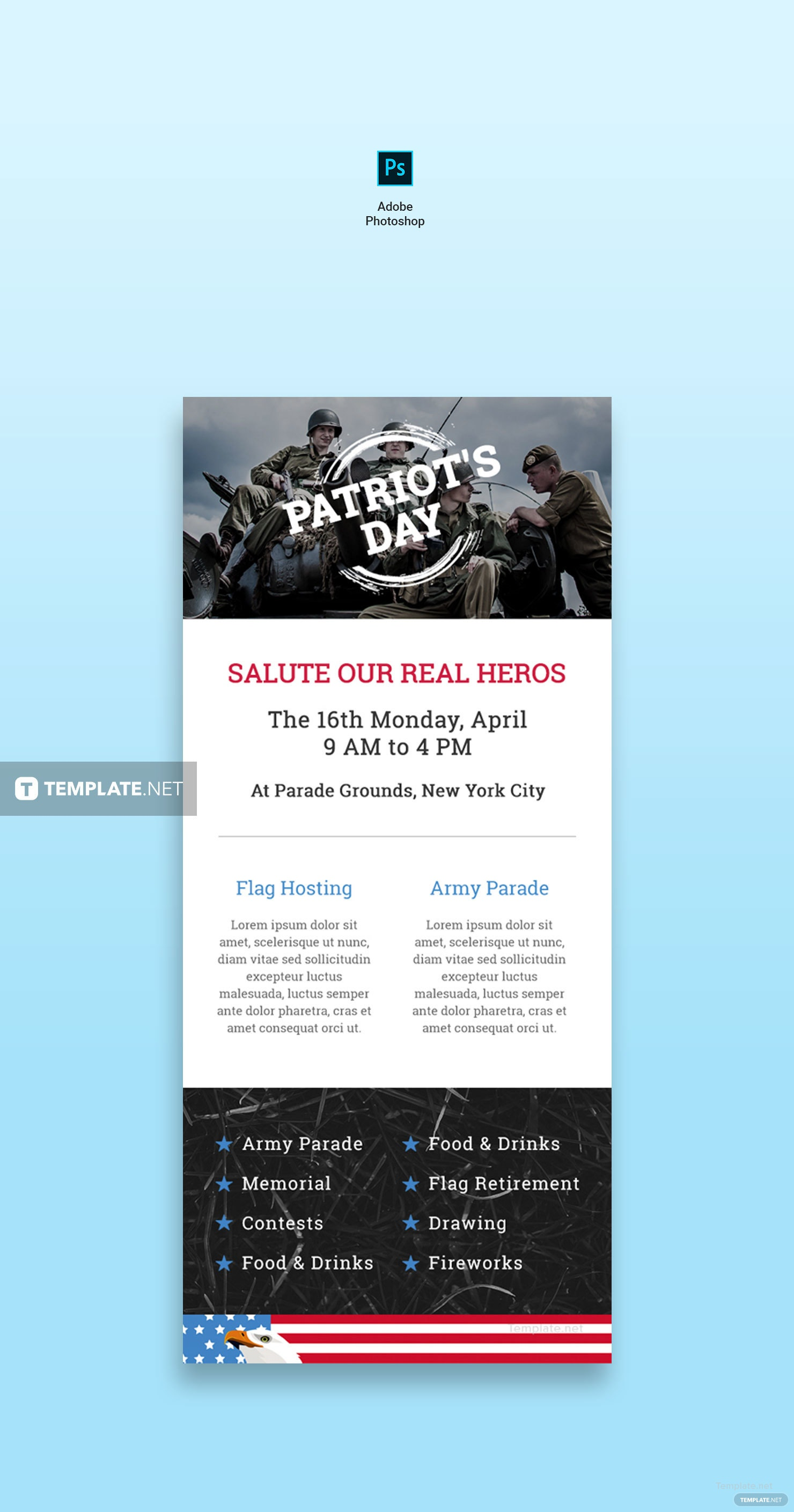 Free Patriots Day Email Newsletter Template