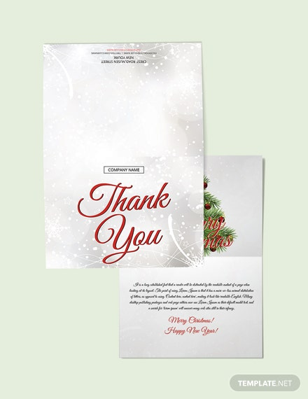Free Merry Christmas Thank You Card Template