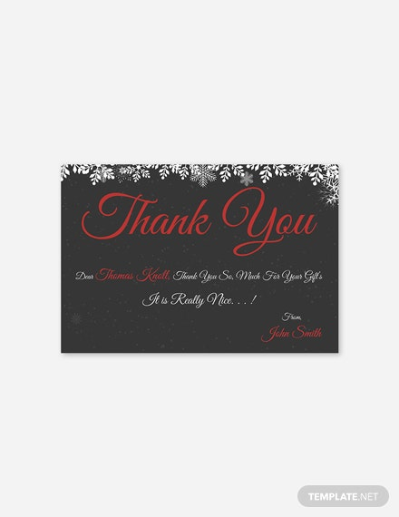 Free Creative Christmas Thank You Card Template