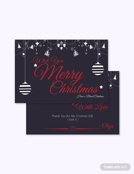 Free Christmas Gift Thank You Card Template