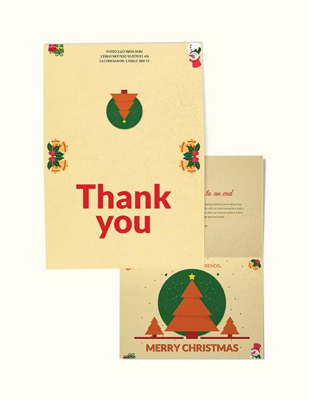 Free Christmas Bi Fold Thank You Card Template