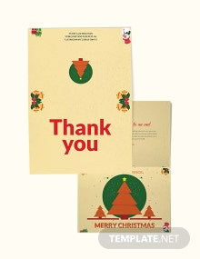 Free Christmas Bi Fold Thank You Card Template