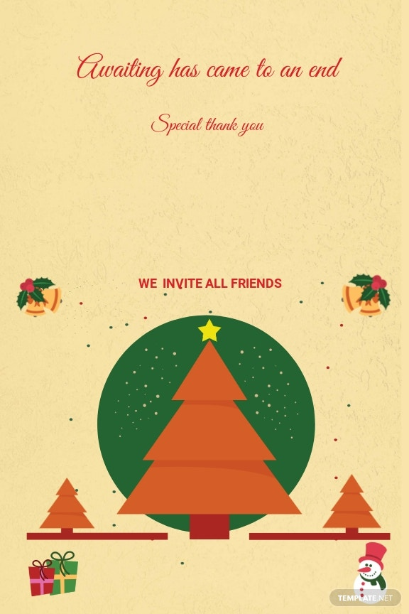 Christmas Bi Fold Thank You Card Template