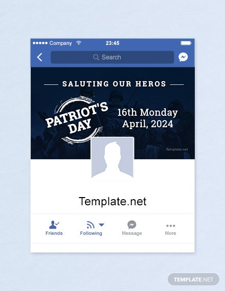 Free Patriot's Day Facebook App Cover Template