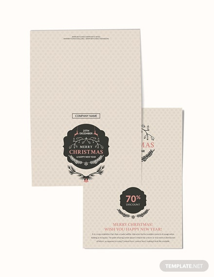 Free Christmas Discount Thank You Card Template