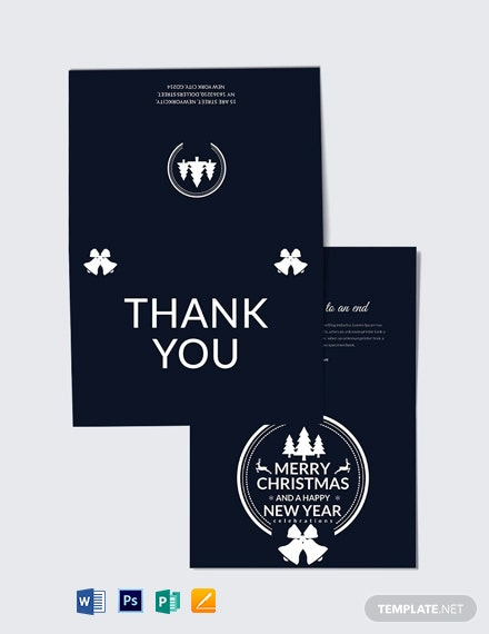 Free Modern Christmas and New Year Thank You Card Template