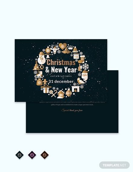 Free Christmas Celebration Thank You Card Template