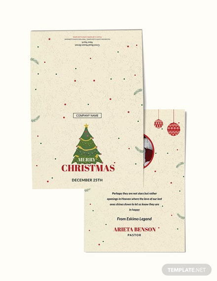 Free Christmas Bonus Thank You Card Template