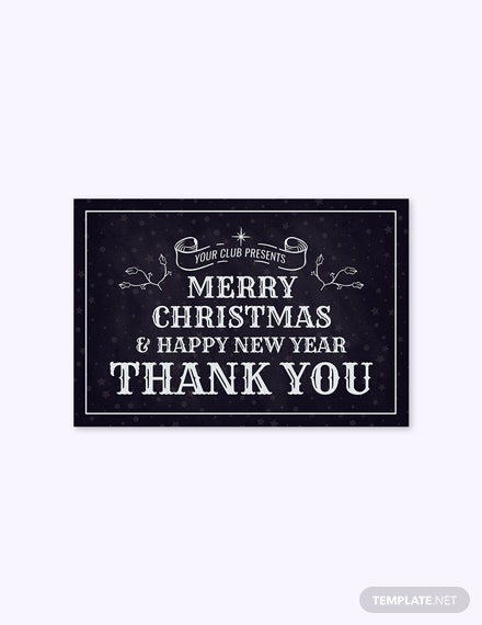 Free Monochrome Christmas Thank You Card Template